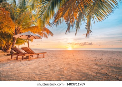 Amazing sunset scenery, wonderful beach landscape. Tropical paradise, sun rays and sea view. Summer vibes, perfect vacation or holiday concept, exotic travel resort and romantic honeymoon destination