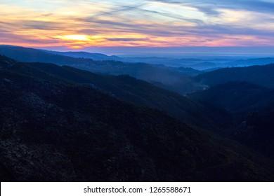Amazing sunset in Serra da Freita, Arouca Geopark, Portugal
