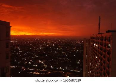 Amazing sunset sky in the cityline of Jakarta