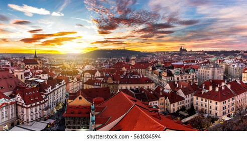Amazing sunset and sky and fantastic view of the Old town square and Prague castle at dawn. Dramatic scene. Famous place (unesco heritage) square on Prague, Czech Republic, Europe. Beauty world.