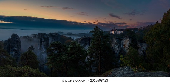 Amazing sunset and sunrise view of Trosky and Hruba Skala., the best photo - Shutterstock ID 2015699423