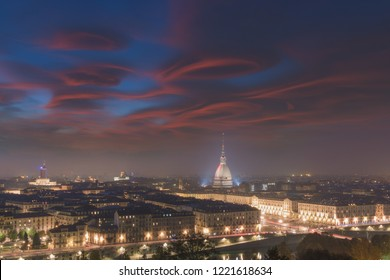 Amazing sunset at Turin from Monte dei Cappuccini, Turin, Piedmont, Italy, Europe