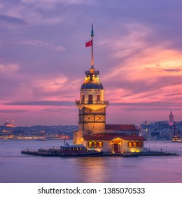 Amazing sunset view of Maiden's Tower (Kiz Kulesi) also known as Leander's Tower situated on Bosphorus, symbol of Istanbul, Turkey. Scenic travel background for wallpaper or guide book