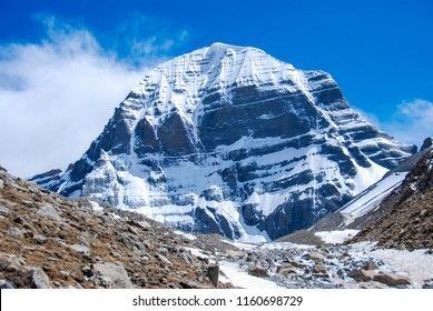 Amazing sunset view on North Face during the first day of ritual kora (yatra) around sacred Mount Kailash. Ngari scenery in West Tibet. Sacred place for Buddha pupils. Place of prayer and meditation.