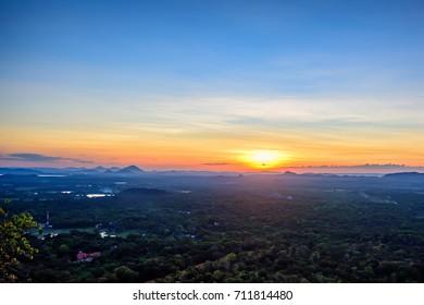 Amazing sunset viewed from rock fortress Sigiriya