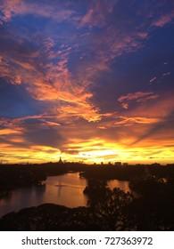 Amazing sunset in Yangon