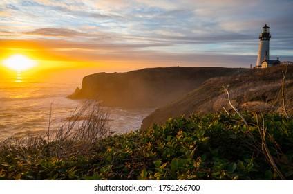 Amazing sunset of the Yaquina Head Lighthouse
