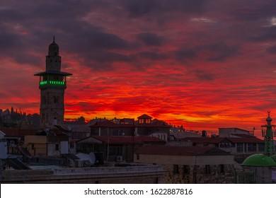 Amazing sunsrise over the muslim quarter in old Jerusalem