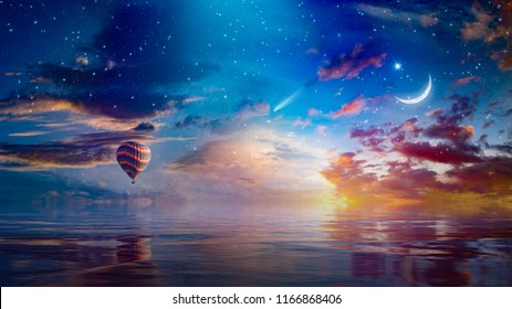 Amazing surreal background - crescent moon and hot air balloon rising above serene sea in sunset sky, glowing horizon and comet. Elements of this image furnished by NASA
