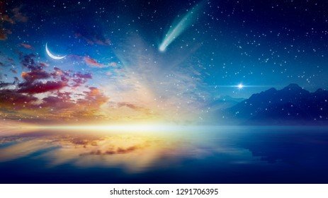 Amazing surreal background - crescent moon, glowing horizon, bright stars and comet above serene sea. Elements of this image furnished by NASA
