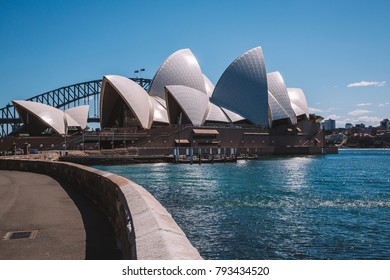 Amazing Sydney Opera house by the bay with yachts swimming by. Sydney, Australia. August 30, 2017