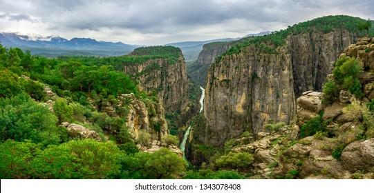 Amazing Tazi Canyon (Bilgelik Vadisi) in Manavgat, Antalya, Turkey. Greyhound Canyon, Wisdom Valley.