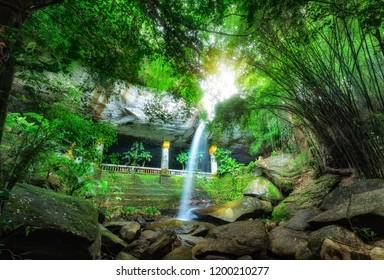Amazing Thailand the temple under waterfall,Wat Tham Heo Sin Chai waterfall,Heo Sin Chai Cave in Kaeng Tana National Park,Ubonratchathani,Thailand