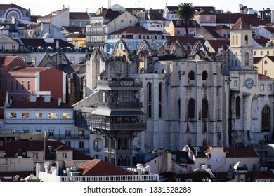 Amazing top view from the city of Lisbon in Portugal with te  Santa Justa Lift