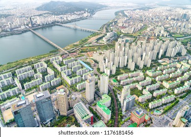 Amazing top view of the Han River (Hangang) and modern residential buildings in Seoul, South Korea. Wonderful cityscape. Seoul is a popular tourist destination of Asia.