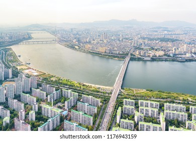 Amazing top view of the Han River (Hangang) in Seoul, South Korea. Wonderful cityscape. Seoul is a popular tourist destination of Asia.
