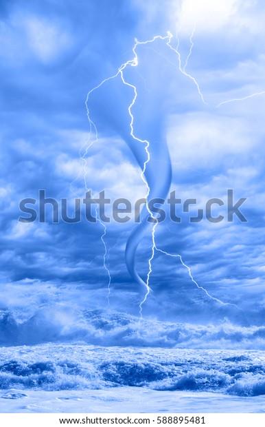 amazing tornado with dark sky