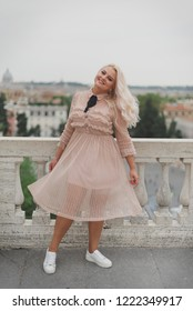 Amazing tourist womam walking on the streets of Rome, Italt