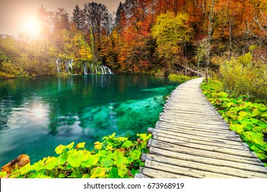 Amazing touristic wooden pathway in the colorful deep forest with clean lakes and spectacular waterfalls, Plitvice National Park, Croatia, Europe