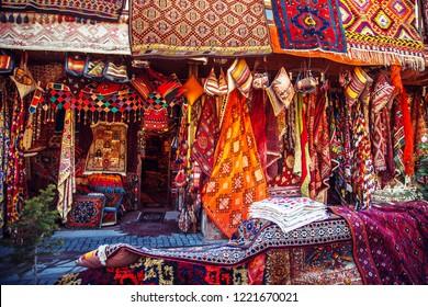 Amazing traditional handmade turkish carpets in souvenir shop. Cappadocia, Turkey.
