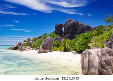 Amazing tropical beach Anse Source d'Argent with granite boulders on La Digue Island, Seychelles