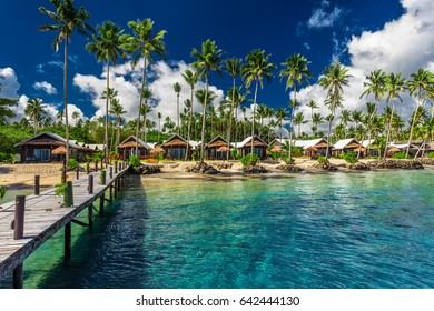 Amazing tropical beach with with coconut palm trees and villas on Samoa Island