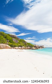 Amazing tropical beach with granite boulders on Grande Soeur, Seychelles