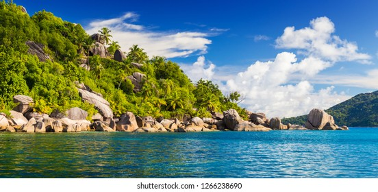 Amazing tropical beach with granite boulders, Felicite, Seychelles