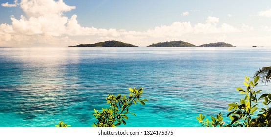 Amazing tropical islands Grande Soeur and Petite Soeur as seen from La Digue Island, Seychelles