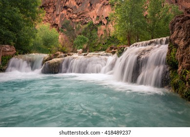 The amazing turquoise color of the limestone fed Havasu Canyon in Arizona