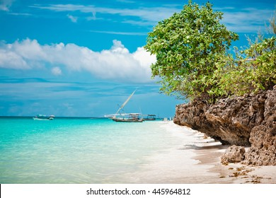 Amazing turquoise water in the Indian ocean, Ningwi beach, Zanzibar, Tanzania, Africa