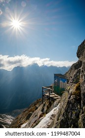 Amazing and unique altitude toilet near house under Rysy. Travel destination scenes in High tatras mountain in Slovakia
