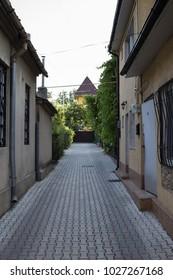 Amazing urban landscape. Old street in Moldavian capital Chisinau.
