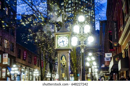 Amazing Vancouver Gastown district at night - the old town - VANCOUVER / CANADA - APRIL 12, 2017