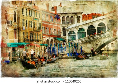 amazing Venice, Rialto bridge - artwork in painting style