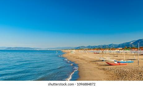 amazing versilia beach on sunrise