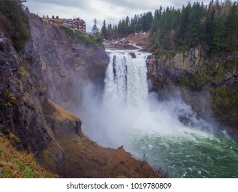 Amazing vertical slopes created by nature. Snoqualmie falls Washington