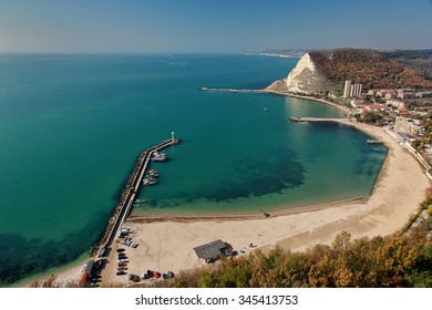 Amazing view from above the bay. Panoramic landscape of Kavarna, Bulgaria