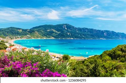 Amazing view at Agios Georgios Pagon beach in Corfu island, Greece