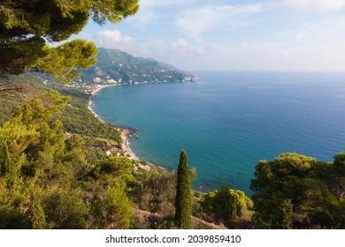 Amazing view to Agios Gordios beach in Corfu island, Greece