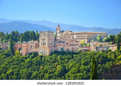 Amazing view of Alhambra palace complex in Granada, Spain taken on a sunny day. UNESCO World Heritage Site, significant sample of Islamic architecture and one of Spain's major tourist attractions.
