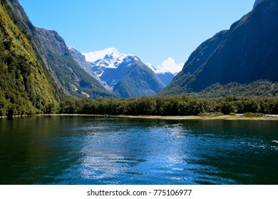 The amazing view along the ferry trip through Milford Sound, New zealand.