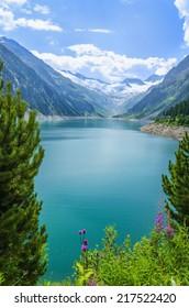 Amazing view of Alpine lake Schlegeis in the valley Zillertal, Austrian Alps