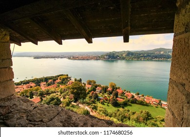 amazing view from the Angera castle on maggiore lake in the north italy