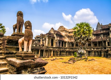 Amazing view of Angkor Wat is a temple complex in Cambodia and the largest religious monument in the world. Location: Siem Reap, Cambodia. Artistic picture. Beauty world.