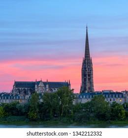 Amazing view to the Basilica of Saint Michel (Basilique Saint-Michel) at sunset time, Bordeaux, France.