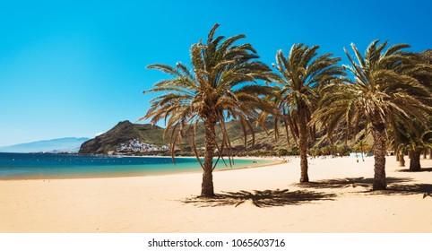 Amazing view of beach las Teresitas with yellow sand. Location: Santa Cruz de Tenerife, Tenerife, Canary Islands.