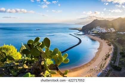Amazing view of beach las Teresitas with yellow sand. Location: Santa Cruz de Tenerife, Tenerife, Canary Islands. Artistic picture. Beauty world
