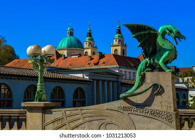 Amazing view of the beautiful Dragon Bridge, Ljubljana, Slovenia
