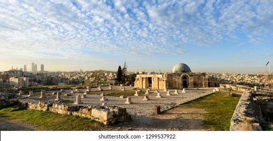 Amazing view of the beautiful Umayyad Palace in the Amman Citadel, Jordan. The Umayyad Palace is a large palatial complex from the Umayyad period, located on the Citadel Hill of Amman.